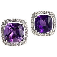 DiamondTown 2.76 Carat Cushion Cut Fine Amethyst Halo Stud Earrings in 14K Gold