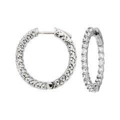 2.76 Carat Diamond Hoop Earrings in 14 Karat White Gold