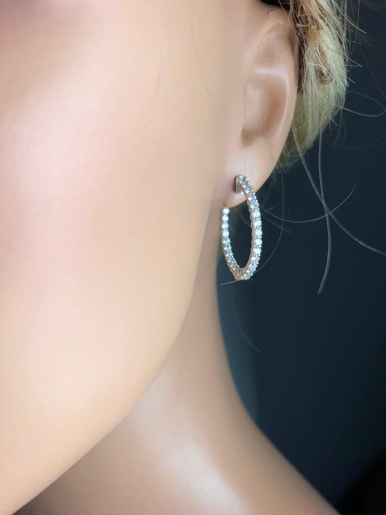 Contemporary 2.76 Carat Diamond Hoop Earrings in 14 Karat White Gold For Sale