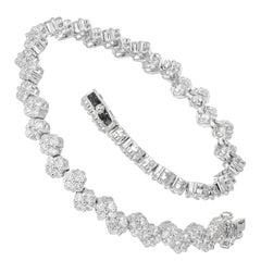 2.76 Carat Diamond White Gold Bracelet