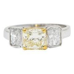 2.76 Carats Fancy Yellow & White Diamond 18 Karat Gold Platinum Three Stone Ring