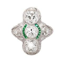 2.76 Diamond Emerald Three-Stone Art Deco Platinum Cocktail Ring