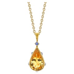 27.60 Carat Golden Beryl and Blue Sapphire, Yellow and White Gold Drop Pendant