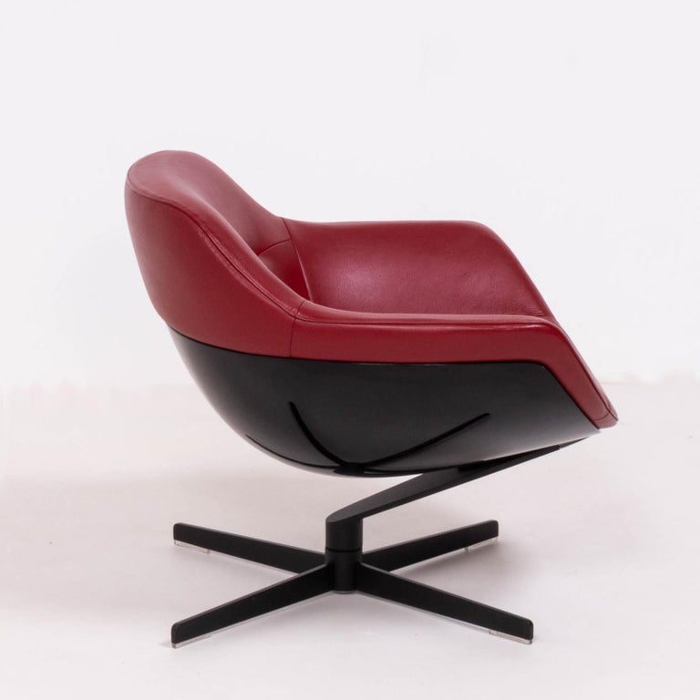 Italian Cassina by Jean-Marie Massaud, 277 Auckland Red Leather Lounge Swivel Chair For Sale