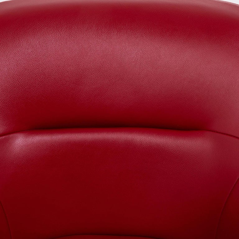 Cassina by Jean-Marie Massaud, 277 Auckland Red Leather Lounge Swivel Chair For Sale 2