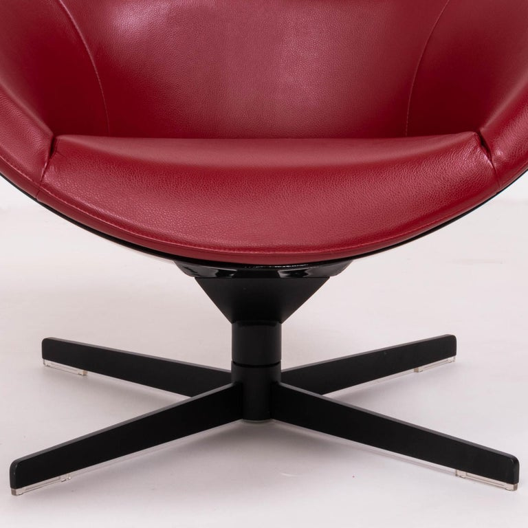 Cassina by Jean-Marie Massaud, 277 Auckland Red Leather Lounge Swivel Chair For Sale 3