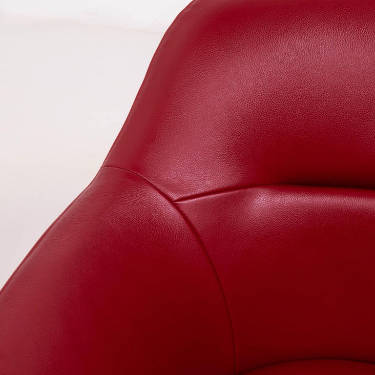 Cassina by Jean-Marie Massaud, 277 Auckland Red Leather Lounge Swivel Chair For Sale 4