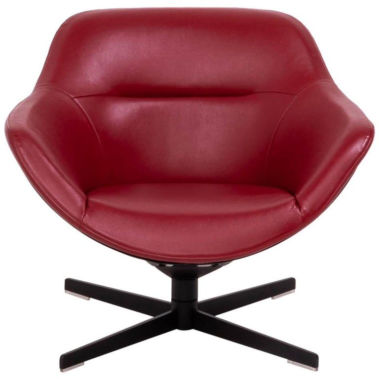 Cassina by Jean-Marie Massaud, 277 Auckland Red Leather Lounge Swivel Chair For Sale