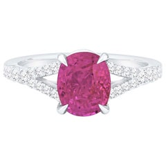 2.77 Carat Cushion Cut Natural Pink Burma Sapphire 'GIA' and Diamond Ring, 18K