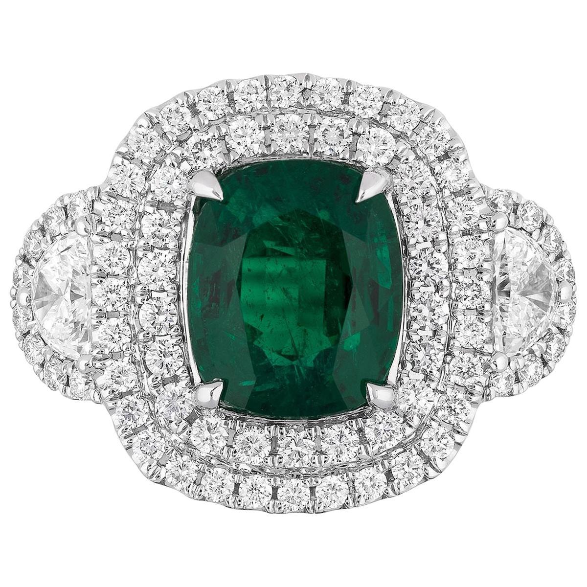2.77 Carat Cushion Zambian Emerald Diamond Cocktail Ring