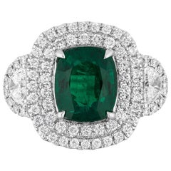 2.77 Carat Cushion Zambian Emerald Diamond Cocktail Ring