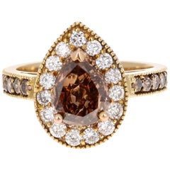 2.77 Carat Fancy Brown Champagne Natural Diamond Engagement Ring