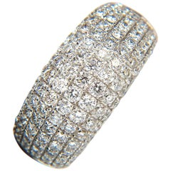 2.77 Carat Full Cut Diamonds Bead Set Wide Band Ring 18 Karat