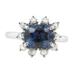 2.77 Carat GRS Certified Unheated Burmese Sapphire and Diamond Engagement Ring