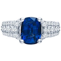 2.77 Carat Natural Blue Cushion Cut 'GIA' Sapphire and Diamond Ring, 18 Karat