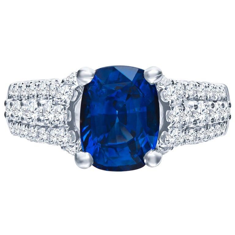 2.77 Carat Natural Blue Cushion Cut 'GIA' Sapphire and Diamond Ring, 18 Karat For Sale