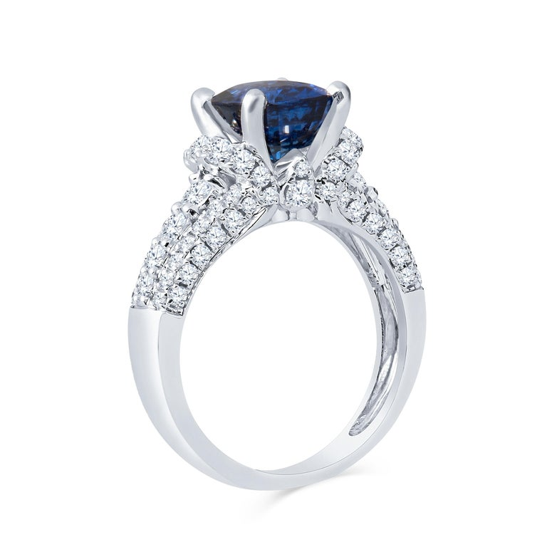 2.77 Carat Natural Blue Cushion Cut 'GIA' Sapphire and Diamond Ring, 18 Karat In New Condition For Sale In Houston, TX