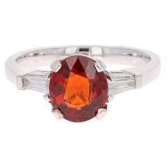 2.77 Carat Spessartine Diamond 14 Karat White Gold Ring