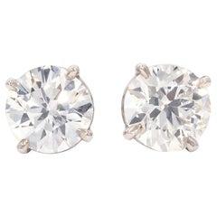 2.77 Carat White Diamond Stud Earrings in 14 Karat White Gold