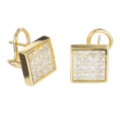 2.77 Color Princess Cut Diamond Gold Square Clip Post Stud Earrings
