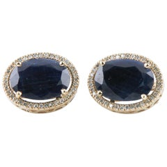 27.70 Carat Sapphire and Diamond 14 Karat Yellow Gold Ladies Earrings