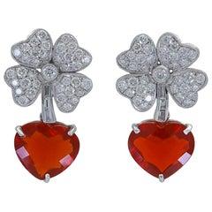 27.78 Carat Heart Mexican Fire Opal Diamond Four Leaf Clover Dangle Earrings