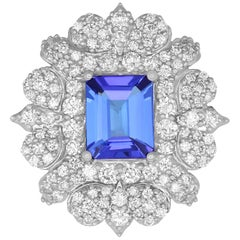 2.78 Carat Emerald Cut Tanzanite and 2.22 Carat White Diamond Ring