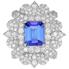2.78 Ct Emerald Cut Tanzanite White Diamond Cocktail Shield Ring 14K White Gold