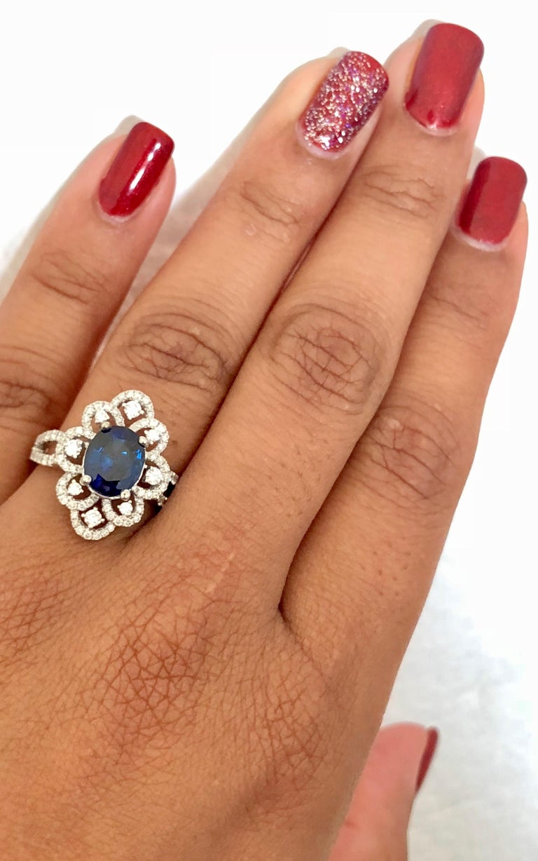 Oval Cut 2.78 Carat GIA Certified Sapphire Diamond 18 Karat White Gold Ring For Sale