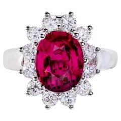2.78 Carat Hot Pink Rubilite Tourmaline with .96 Carat of Diamonds