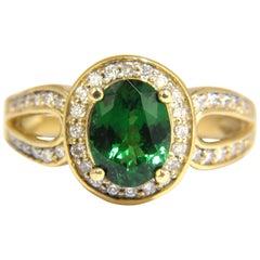 2.78 Carat Natural Oval Vivid Mint Green Tsavorite Diamonds Double Shank Ri