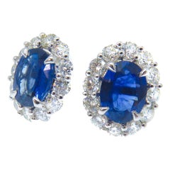 2.78 Carat Oval Cut Sapphire Stud Earrings