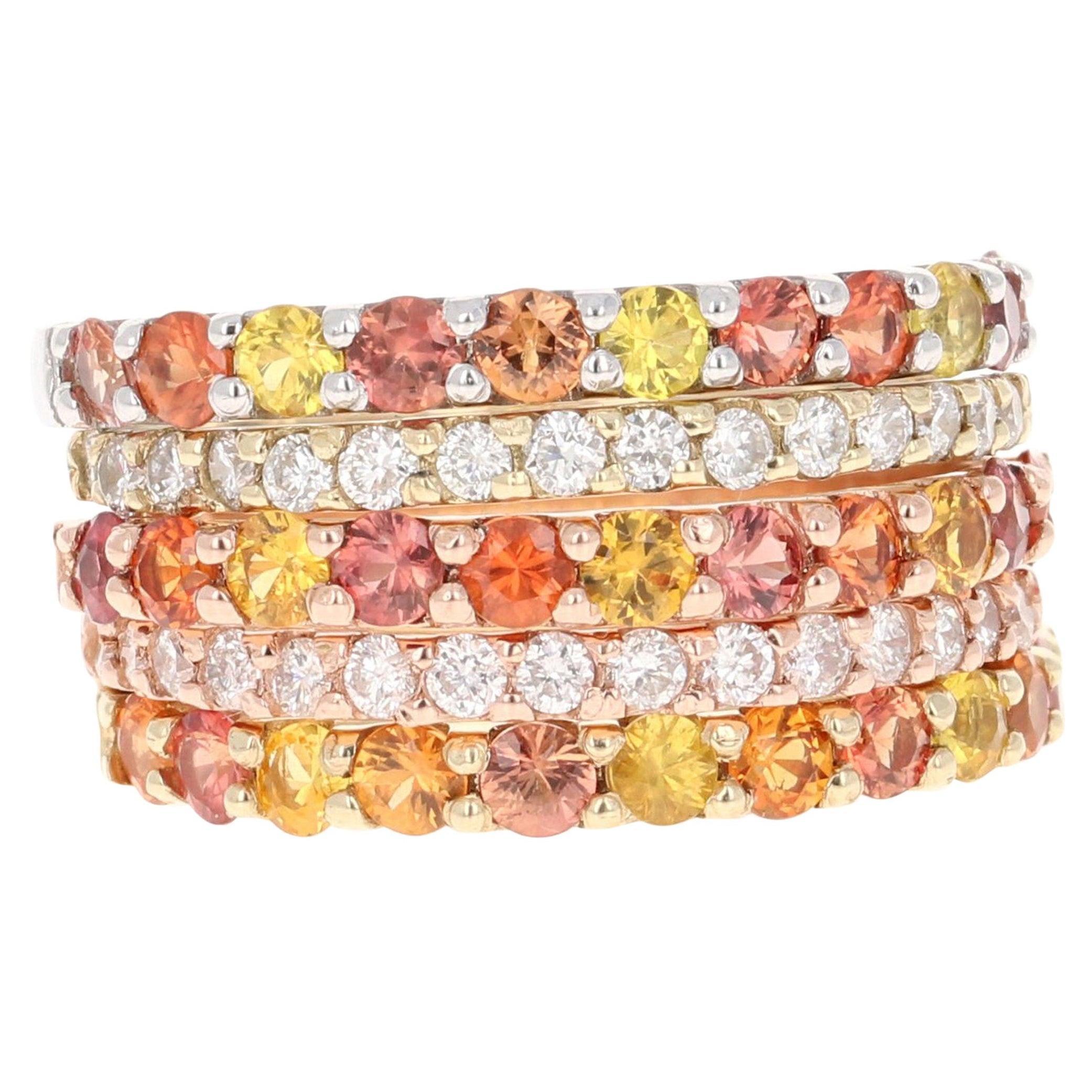 2.78 Carat Red Yellow Sapphire Diamond 14 Karat Yellow Rose Gold Stackable Bands
