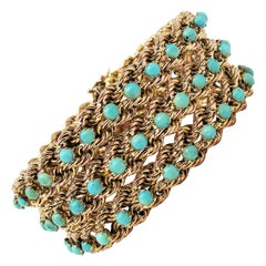 27.84 Carat Multi-Row Cabochon Turquoise Wide Rope Bracelet 14 Karat Yellow Gold