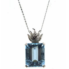 27.85 Carat Aquamarine Diamond White Gold Pendant Estate Necklace
