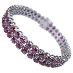 27.88 Carat Ruby Tennis Bracelet in 18 Karat White Gold