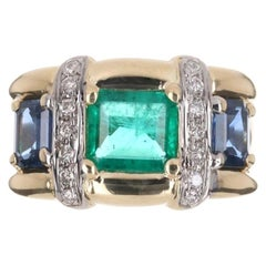 2.78tcw 18K Colombian Emerald, Blue Sapphire, & Diamond 14K Gold Ring