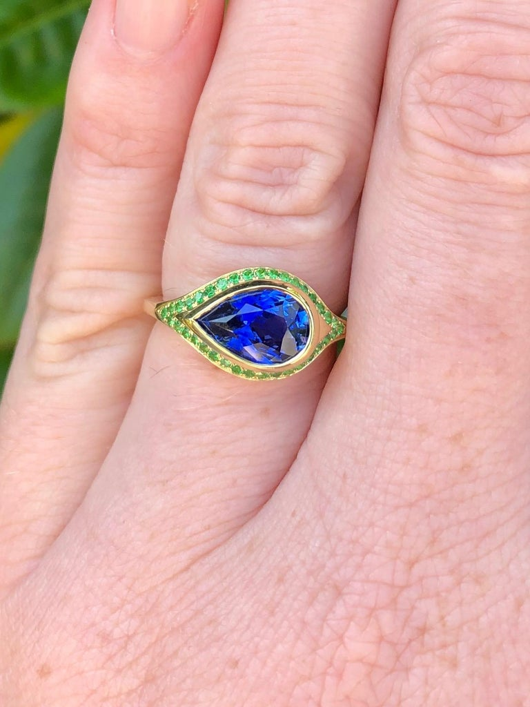 2.79 Carat Ceylon Sapphire and Tsavorite Engagement Ring In New Condition For Sale In Berkeley, CA