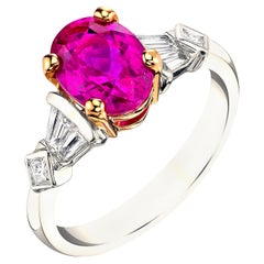 2.79 Carat Pink Sapphire Oval Diamond White and Rose Gold Engagement Ring