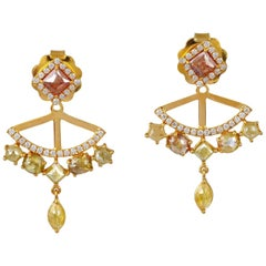 2.79 Carat Fancy Diamond 18 Karat Gold Ear Jacket Earrings