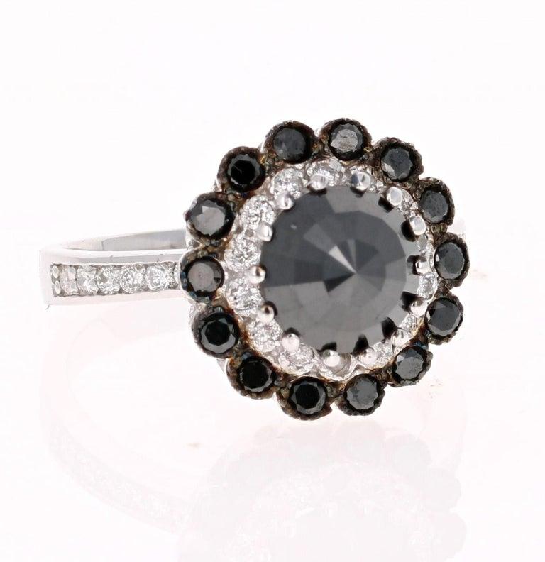 ed7a5e777e439 2.79 Carat Round Cut Black Diamond White Gold Bridal Ring