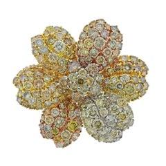 27.90 Carat Fancy Diamond Tri Color Gold Flower Brooch