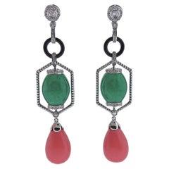 27.90ctw Jadeite Jade Coral Diamond Onyx Gold Drop Earrings