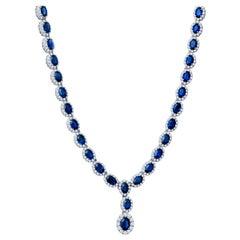 27.95 Carat Oval Sapphire and 7.08 Carat Round Diamond Necklace