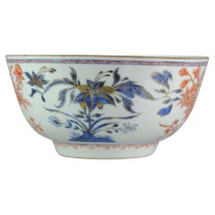 Large Antique Kangxi Lily and Peony Bowl Imari Colour Chinese, circa 1700