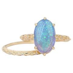 2.7ct Solid Australian Opal Engagement Ring Wedding Band Set 14k Yellow Gold