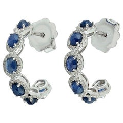2.8 Carat Blue Sapphire 14 Karat Gold Diamond Hoop Earrings