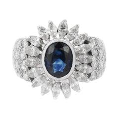 2.8 Carat Blue Sapphire Diamond 18 Karat White Gold Ring