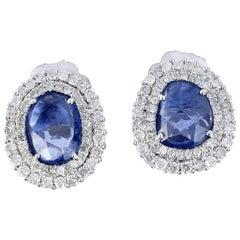 2.8 Carat Blue Sapphire Diamond Stud Earrings