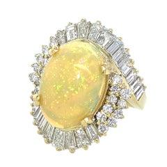 2.8 Carat Diamond Cocktail Ring with 6.5 Carat Ethiopian Opal in 18 Karat Gold